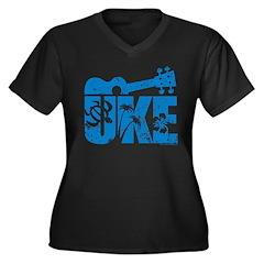 The Uke Blue Women's Plus Size V-Neck Dark T-Shirt