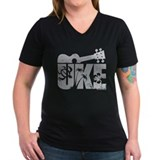 Ukulele Womens V-Neck T-shirts (Dark)