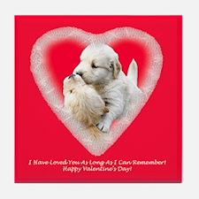 Golden Retriever Valentine's Day Tile Coaster