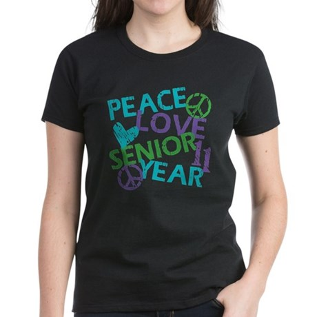 Peace Love Senior Year Women's Dark T-Shirt