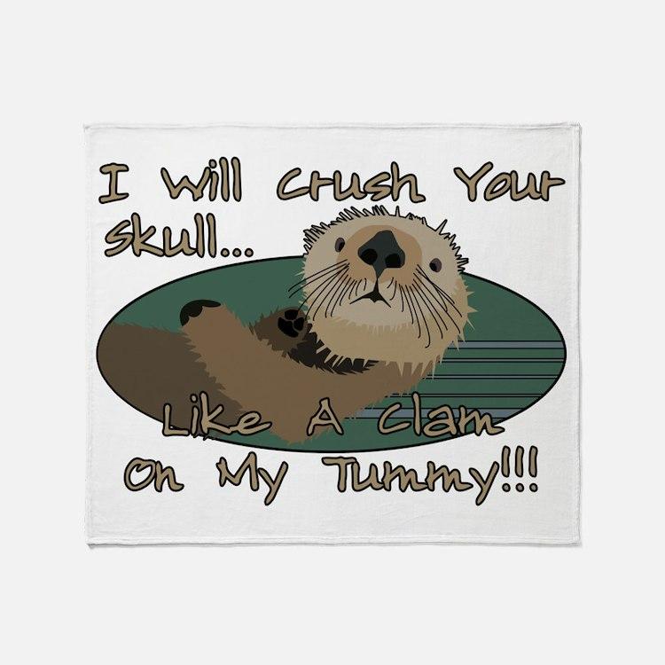 Otter Skull Crush Throw Blanket