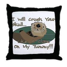 Otter Skull Crush Throw Pillow