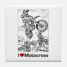 I love Motocross gifts Tile Coaster