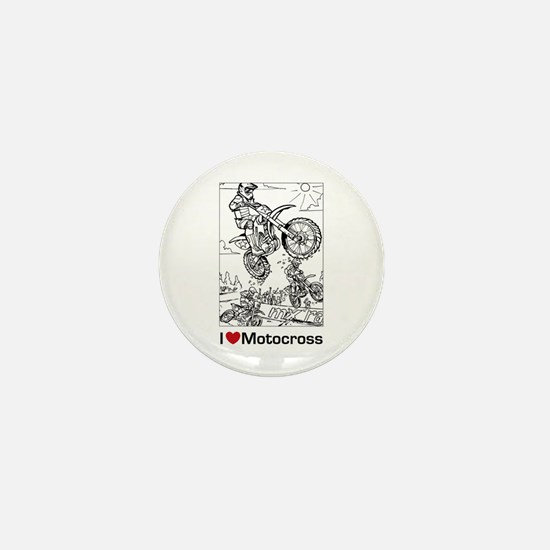 I love Motocross gifts Mini Button