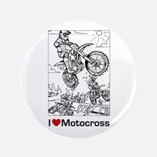 """I love Motocross gifts 3.5"""" Button"""