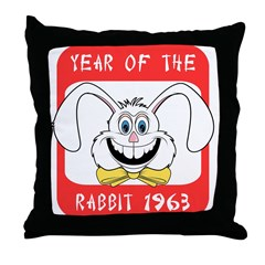 1963 Year of The Rabbit 1963 Throw Pillow