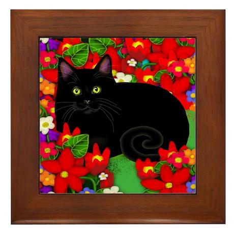 Black Cat Red Flowers Framed Tile