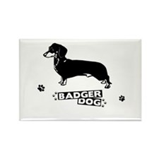 Dacshund White Rectangle Magnet