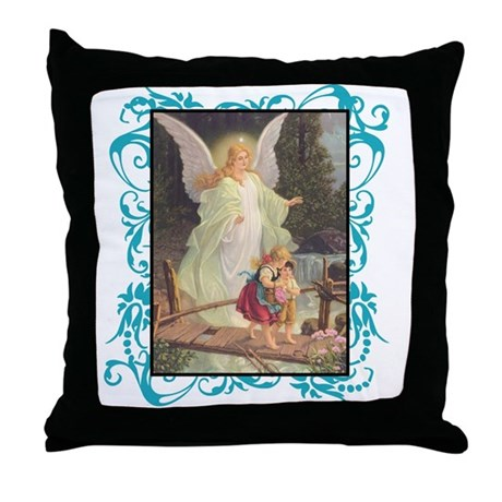 Vintage Guardian Angel Throw Pillow