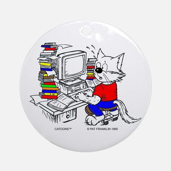 Catoons™ Computer Cat Ornament (Round)