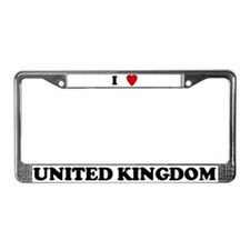 I Love United Kingdom License Plate Frame