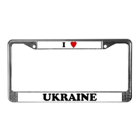 I Love Ukraine License Plate Frame