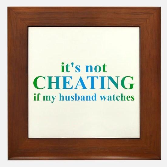 Husband Watches... Framed Tile
