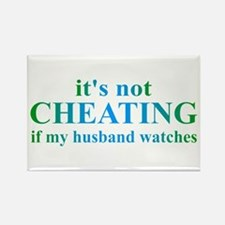 Husband Watches... Rectangle Magnet