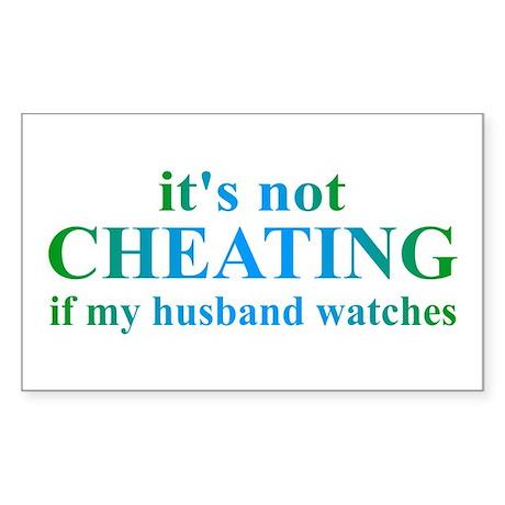 Husband Watches... Sticker (Rectangle 50 pk)