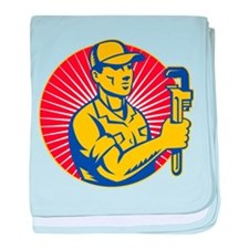 plumber pipe wrench baby blanket
