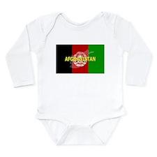 Afghanistan Flag Extra Long Sleeve Infant Bodysuit