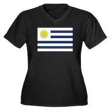 Uruguay Flag Women's Plus Size V-Neck Dark T-Shirt