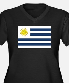 Uruguay Flag Women's Plus Size V-Neck Dark T-Shirt