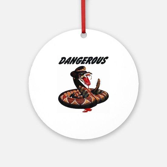 Dangerous Rattlesnake Snake Ornament (Round)