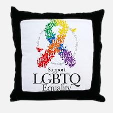LGBTQ Ribbon of Butterflies Throw Pillow
