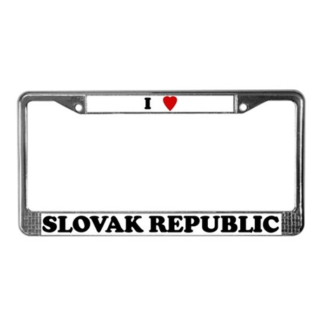 I Love Slovak Republic License Plate Frame