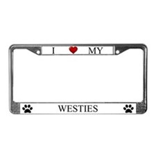 White I Love My Westies Frame