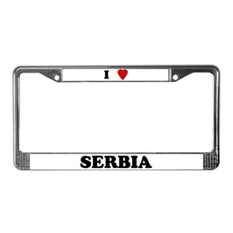 I Love Serbia License Plate Frame