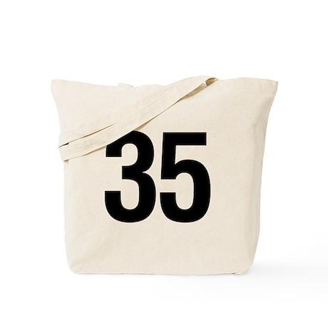 Number 35 Helvetica Tote Bag