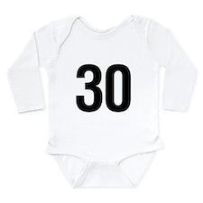 Number 30 Helvetica Long Sleeve Infant Bodysuit