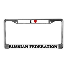 I Love Russian Federation License Plate Frame