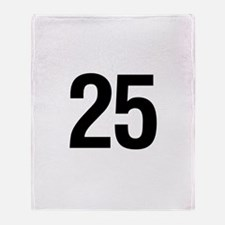 Number 25 Helvetica Throw Blanket