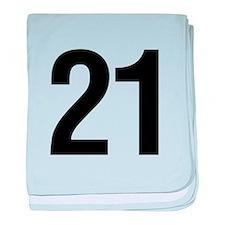 Number 21 Helvetica baby blanket