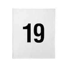 Number 19 Helvetica Throw Blanket
