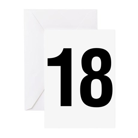 Number 18 Helvetica Greeting Cards (Pk of 20)