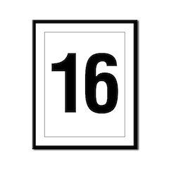Number 16 Helvetica Framed Panel Print