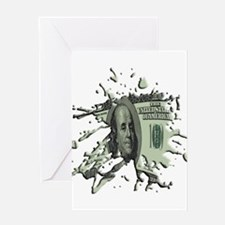 100 Dollar Blot Greeting Card
