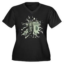 100 Dollar Blot Women's Plus Size V-Neck Dark T-Sh