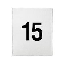 Number 15 Helvetica Throw Blanket