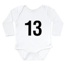 Number 13 Helvetica Long Sleeve Infant Bodysuit