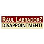 Raul Labrador: Disappointment! bumper sticker
