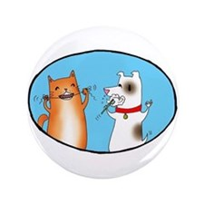 "Cat and Dog Cleaning Their Te 3.5"" Button (10"