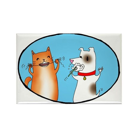 Cat and Dog Cleaning Their Te Rectangle Magnet (10