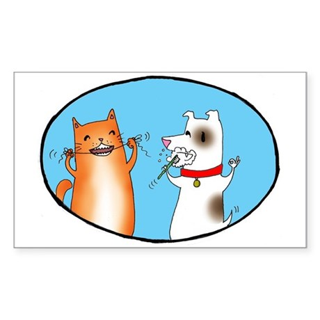 Cat and Dog Cleaning Their Te Sticker (Rectangle)