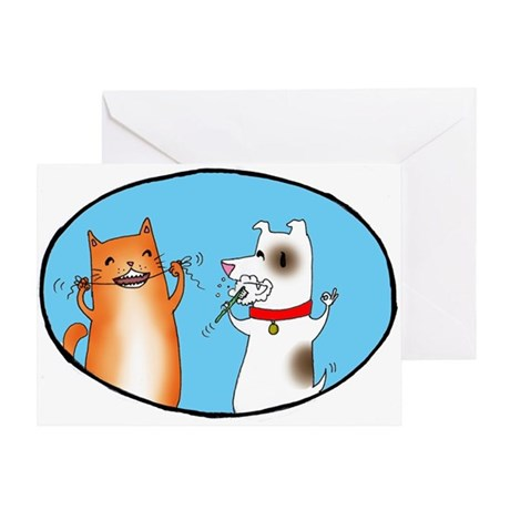 Cat and Dog Cleaning Their Te Greeting Card