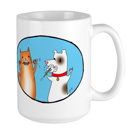 Cat and Dog Cleaning Their Te Large Mug