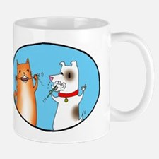Cat and Dog Cleaning Their Te Mug