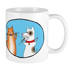 Cat and Dog Cleaning Their Te Small Mug