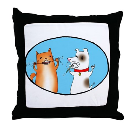Cat and Dog Cleaning Their Te Throw Pillow
