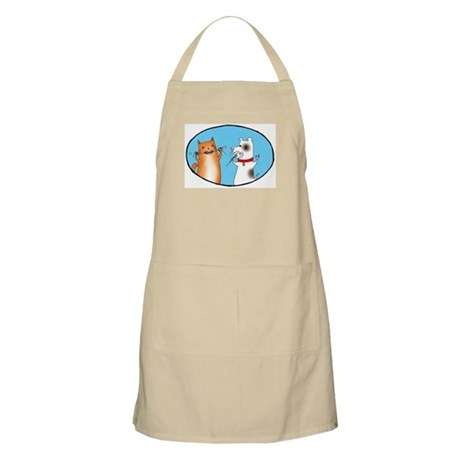 Cat and Dog Cleaning Their Te Apron